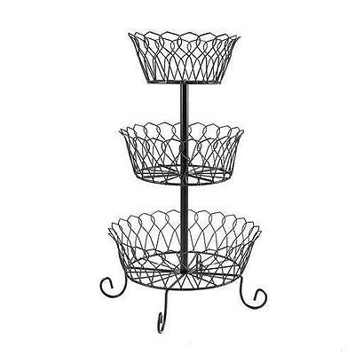 3 Tier Wire Basket Holder Kitchen Countertop Fruits Vegetables Storage Organizer Cups Plates Things Like That Tiered Fruit Baskets