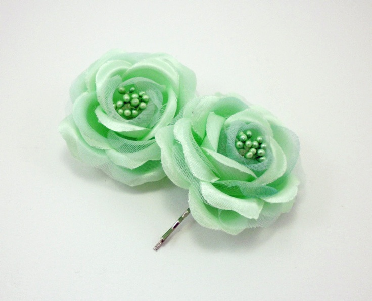 Mint Green Hair Flower, mint flower clip, flower hair pin, vintage style hair flower, wedding accessorie