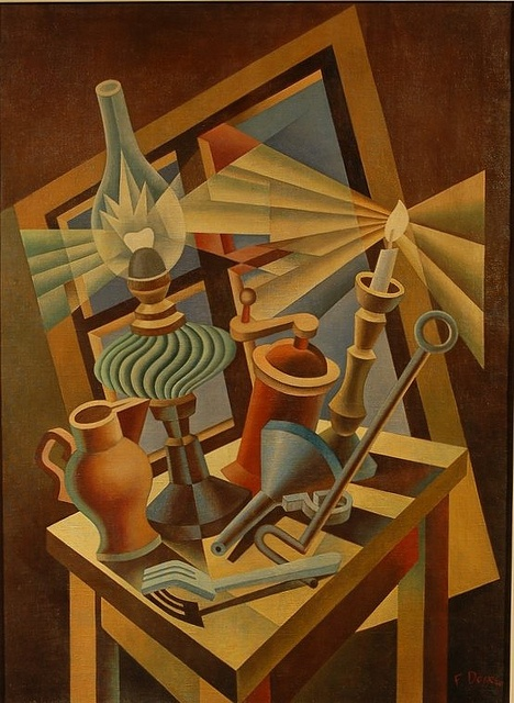 "Name: Depero, Fortunato. Date: 1930 "" Still life turned"" Futurism. It is one of the famous style of painting during the world war. It especially concerned with expressing movement and the dynamics of natural and ma-made forms since technologies are mostly invented that period . in this art, you will see oil lam, coffee machine and tools that are made in that period."