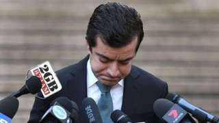 Australian Labor Party's Senator Sam Dastyari fronts the media in Sydney on September 6, 2016, to make a public apology