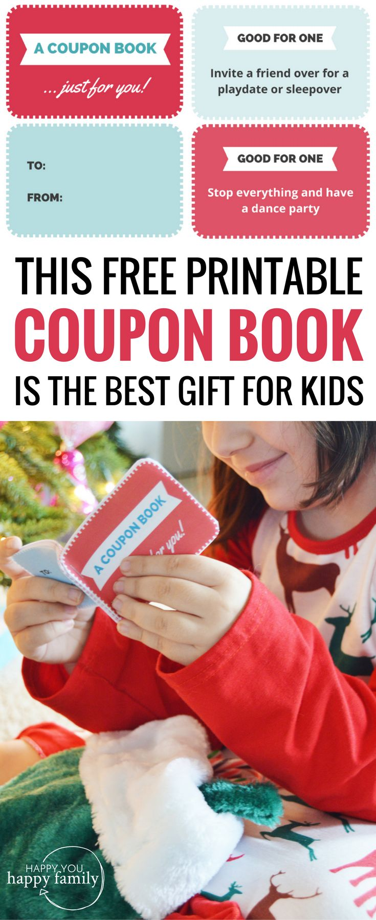 Forget the typical stocking stuffers for kids! This free printable coupon book for kids will be your child's favorite gift of all. Also includes a blank sheet template you can use to fill in your own ideas of fun experiences. When it comes to Christmas gifts for kids, it doesn't get any better than this meaningful present. #christmasgiftsforkids #nontoygifts #giftideasforkids #giftsforkids