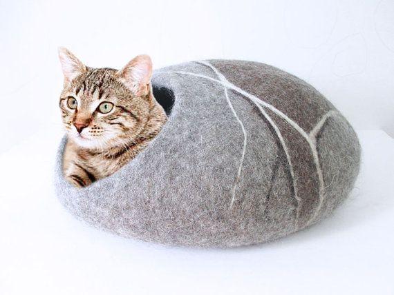 Gevilte wol kat grot in grijze en bruine kleuren, pebble ontwerp, 100% natuurlijke eco vriendelijke huisdier huis, wol vilten kat cocoon, kat bed huis