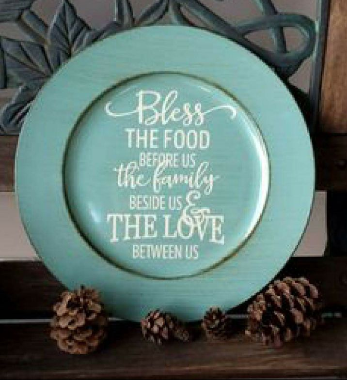 "13"" Decorative Brushed Turquoise Charger Plate ""Bless The Food"" - Kelly Belly Boo-tique"