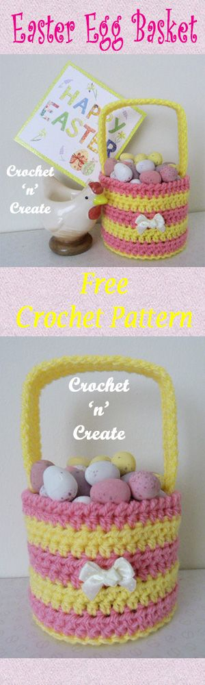 Sweet! Easter egg basket, free crochet pattern. #crochet