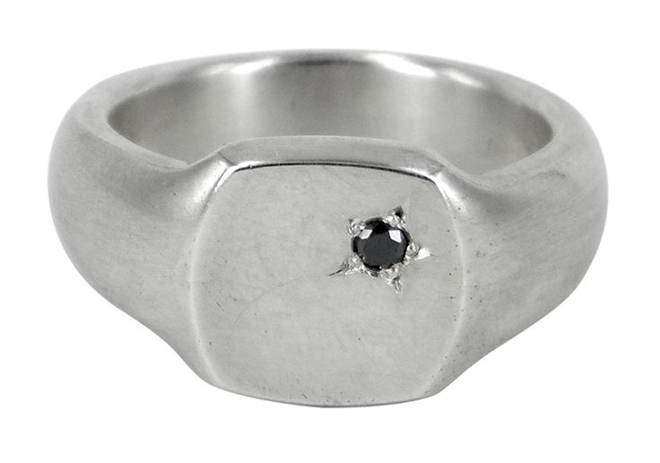 Diamond sqaure signet ring in sterling silver and black diamond