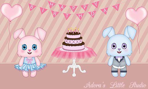 Cute Happy Birthday eCard Animation ~bunny ~cake ~pink ~balloons ~heart ~confetti ~kawaii