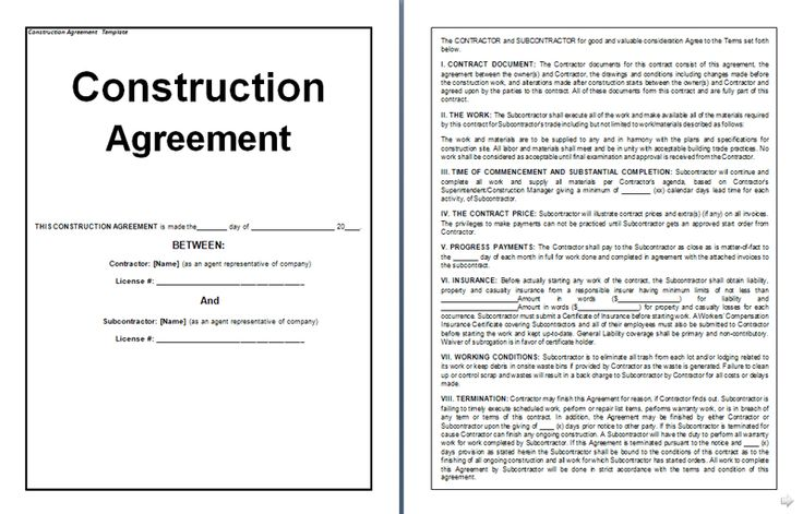 Construction Agreement Form Agreement Form Template – Construction Agreement Form