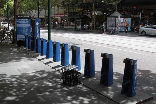 Empty rack at the Melbourne Bike Share station on Bourke Street
