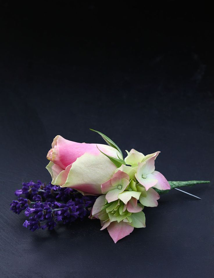 Fresh cut lavender, with blushing hydrangea and rose buttonhole. Smells amazing.