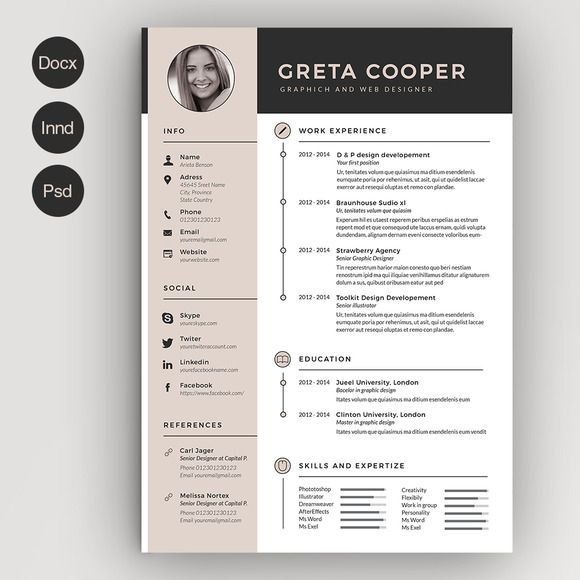 The  Best Cv Template Ideas On   Creative Cv Template