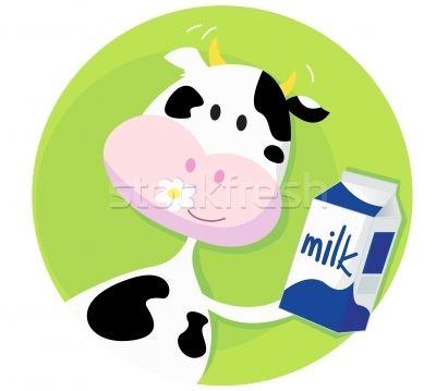 Happy Cow With Milk Box On Green Background  - ilustração de vetor por lordalea - Stockfresh #414393