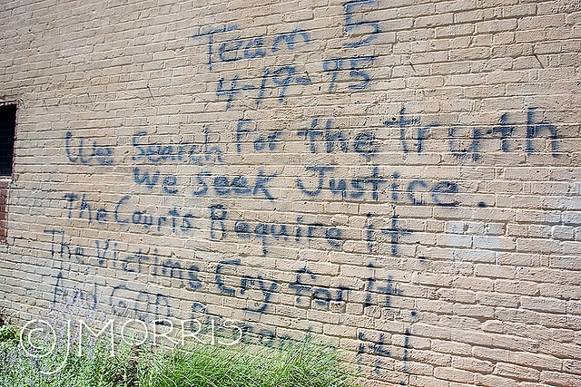 """Oklahoma City Bombing site (Journal Record Building, now the OKC Bombing Memorial Museum); """"We search for the truth.  We seek justice.  The courts require it.  The victims cry for it.  And GOD demands it."""
