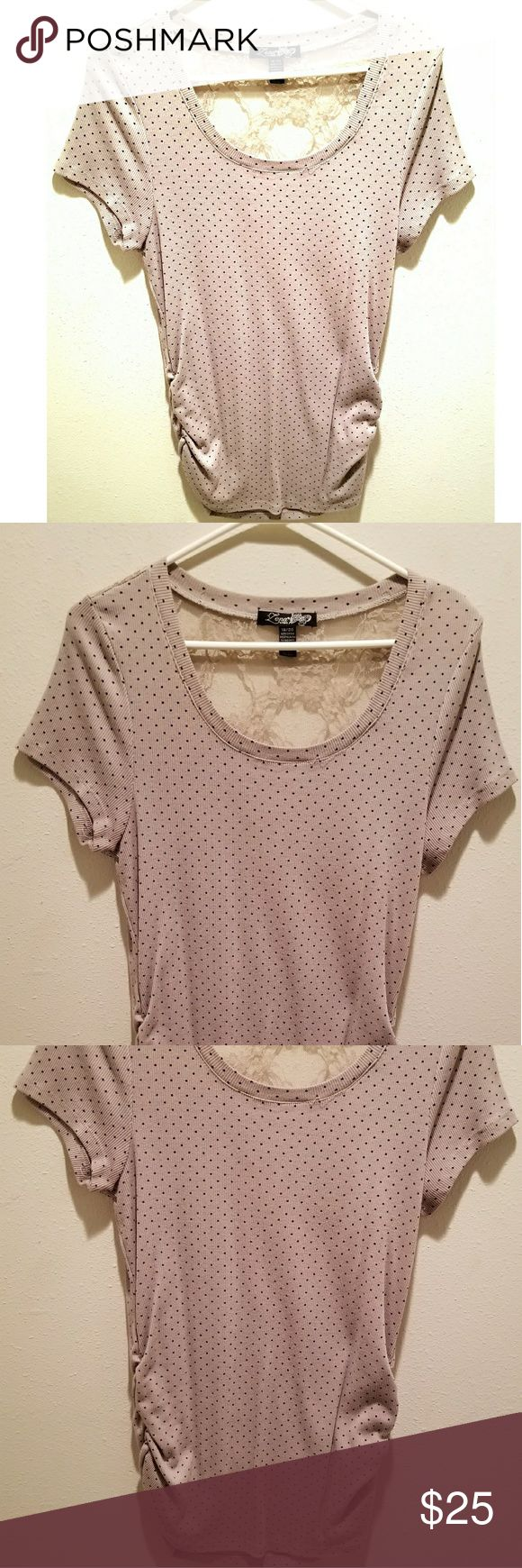 Beige Top w/ Black Polka Dots & Lace Back Cute short sleeve top. Beige-ish color with black polka dots. Lace on the back top from shoulder to shoulder. Ribbed cotton. Worn once. Zena Tops Tees - Short Sleeve