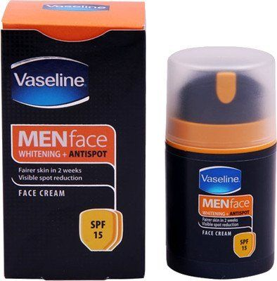 Vaseline Mens Anti spot whitening Face Cream 50g by Vaseline. $8.00. Cures Sun Spots, Acne Spots, Pimple Marks, Freckles, Dark Patches.. 3x Sunscreens. Instant Whitening.. Triple Pro-Vitamins. Antioxidants. Vaseline Intensive Care - Men Anti Spots Whitening Face Cream Instant Whitening. Vaseline Mens Anti spot Whitening Face Cream as an active man, you lead a hectic outdoor life. Due to this, your skin has to bear environmental assault & high sun exposure which doesn't jus...