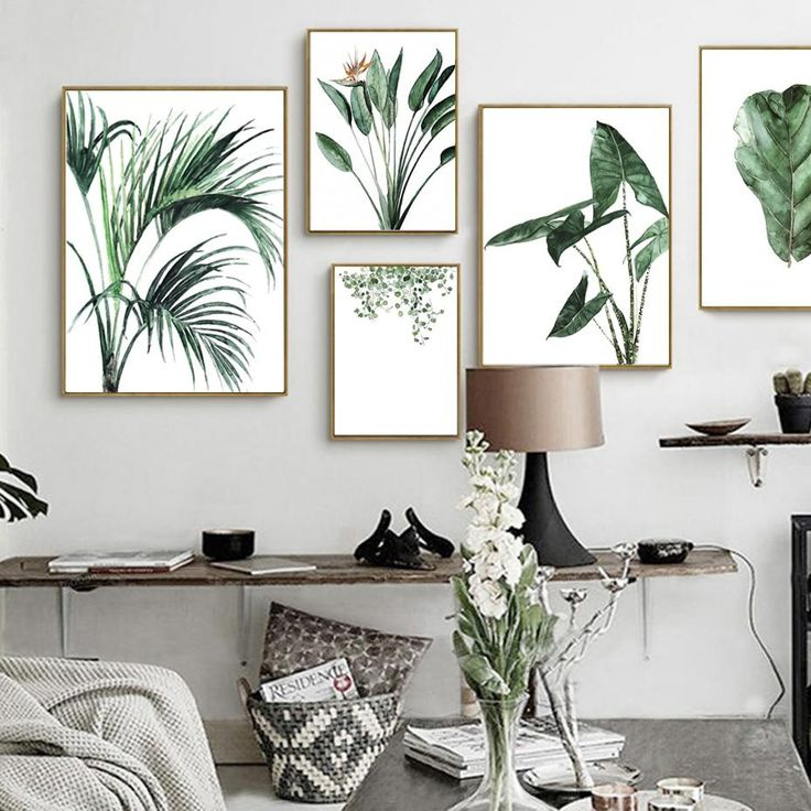 Green Leaves Tropical Plants Still Life Watercolors Minimalist Modern Nordic Wall Art Canvas Prints Poster Pictures for Living Room Home Decor
