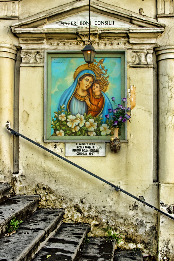 A street shrine outside the church in Gricignano d'Aversa, Italy. Our Mother of Good Counsel
