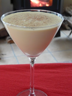 Eggnog Latte Martini: 3/4 ounce Stoli vanilla, 3/4 ounce Kahlua, 4 ounces eggnog, Dash of nutmeg. Shake all ingredients with ice and strain into a martini glass. Garnish with nutmeg.