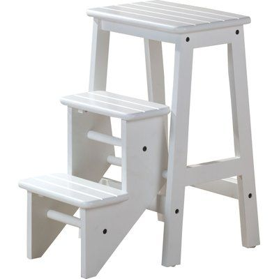 Solid wood construction step stool. Sturdy Stool for reaching higher place. The lower step piece stores up when not in use.