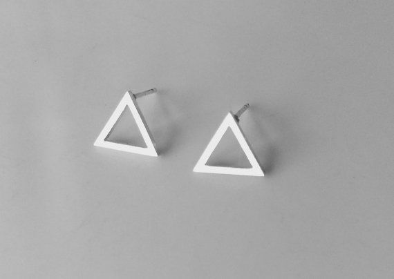 Tiny Silver Triangle Earrings, Silver Triangles, Cute studs, geometric earrings, open triangle earrings, Triangle stud, minimalist earring