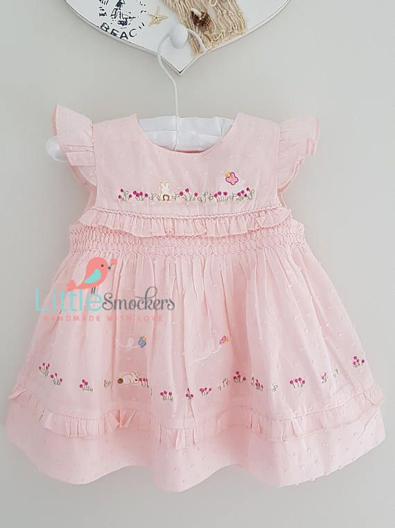 Beautiful pale pink spot voile hand smocked dress  sizes 3-6