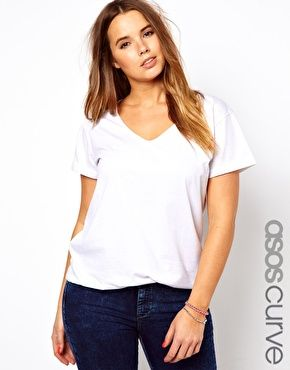 {Essential} Grey/White tee / ofASOS CURVE T-Shirt With V-Neck