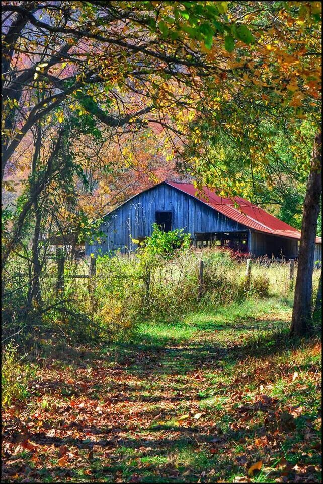 Blue barn with rusted tin roof....!