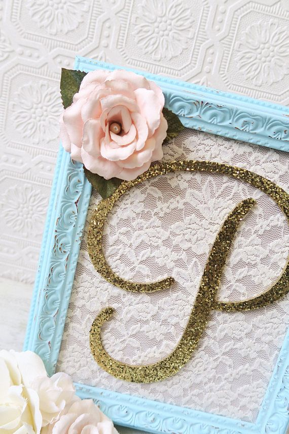PLEASE ALLOW UP TO 2 WEEKS FOR PRODUCTION-THESE ITEMS ARE HAND PAINTED-MADE TO ORDER Aqua and Gold Nursery Decor Decorative Letters Baby Girl Nursery Decor Shabby Chic Nursery Hanging Wall Letters ***Please read product description carefully before purchasing*** ~8x10 Ornate Resin