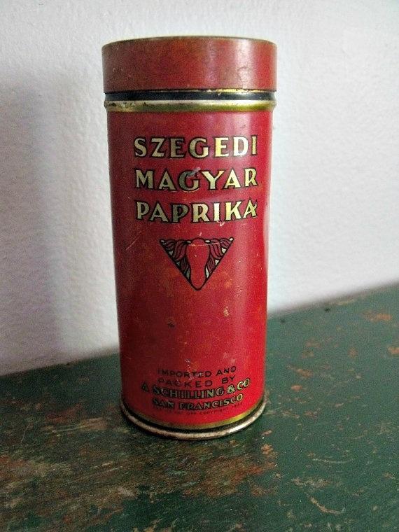 Hungarian Paprika tin  1930s  Shilling  Art Deco  by wonderdiva, $6.50