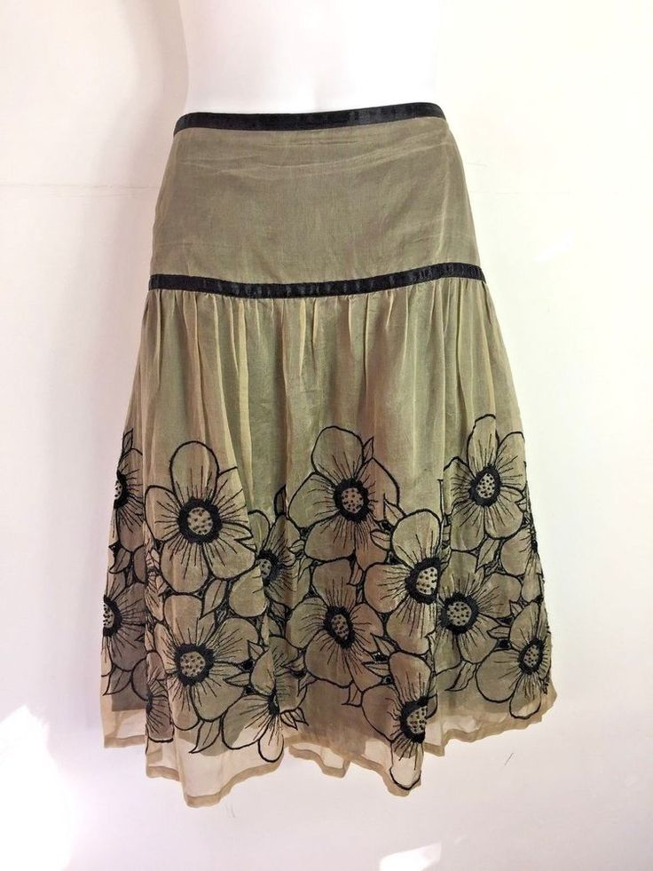 Womens Skirt by Robin Jones NZ designer Silk diecut flower Skirt in Sepia Tones  #robinjones #FlareSkirt #EveningOccasion
