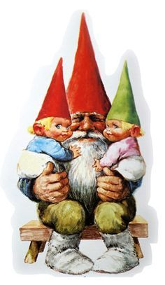 """One of the most famous images from author Wil Huygen's and illustrator Rien Poortvliet's """"The Secret Book of Gnomes"""" shows two views of a typical gnome."""