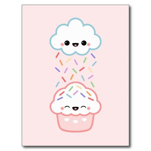 Super cute cloud raining rainbow sprinkles on happy cupcake!