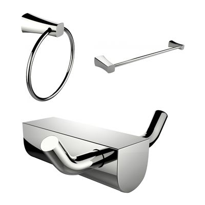 American Imaginations AI-13667 Modern Towel Ring with Single Rod Towel Rack and Robe Hook Accessory Set