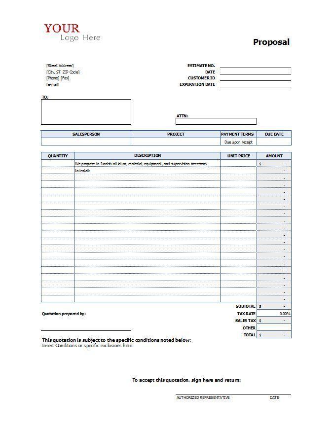 Proposal Form Construction Proposal Templates Templates