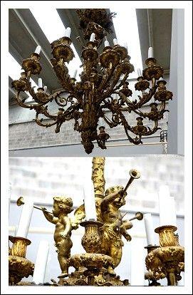 Codice: 0560013 Lampadario in bronzo dorato L XVI  Paris su modello Pierre Gouthiere  Henri Dasson (1825 - 1896)    Misure: diametro 100 h 130