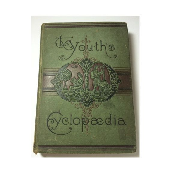Victoriaanse encyclopedie jongeren Cyclopaedia boek Vol 1 1893 antiquarische olijfgroen sjofele Decor bibliotheek stijgende Hawk Vintage