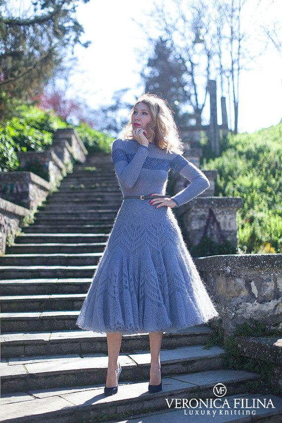hand knitted mohair-silk lace dress full skirt от VeronicaFilina