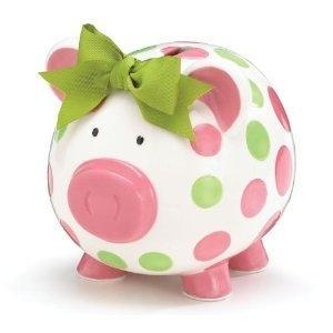 Girls Pink & Green Circles Pig Piggy Bank Green Bow Ceramic Personalized Baby Nursery Decor by Burton & Burton