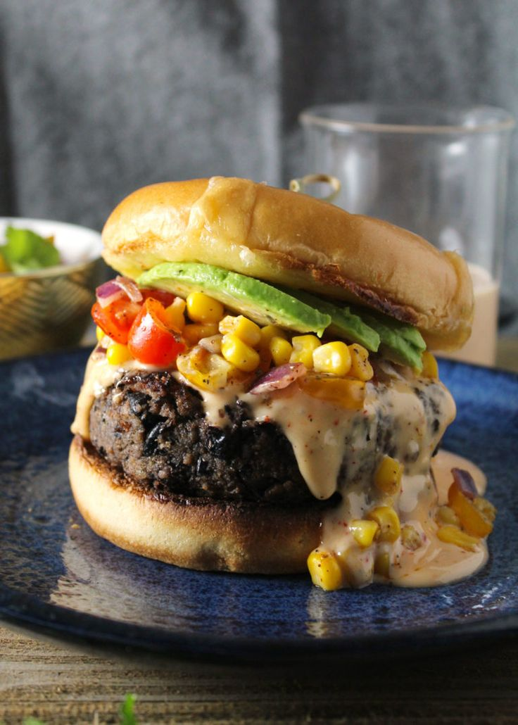 Southwest Black Bean Burger with Sweet Chili Mayo