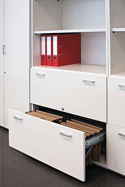 http://spacio.es/mobiliariodeoficina/archivosoficinas/armarios-modulares/  Armarios modulares con cajones carpeteros.
