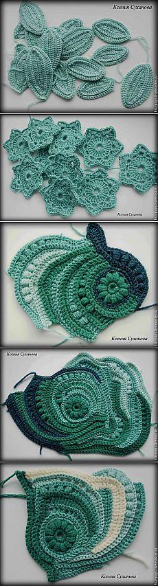 Step by step freeform crochet motif.