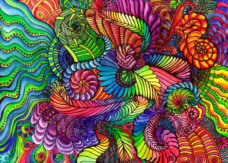 doodle painting etsy | Rainbow Doodle Original Watercolor ...