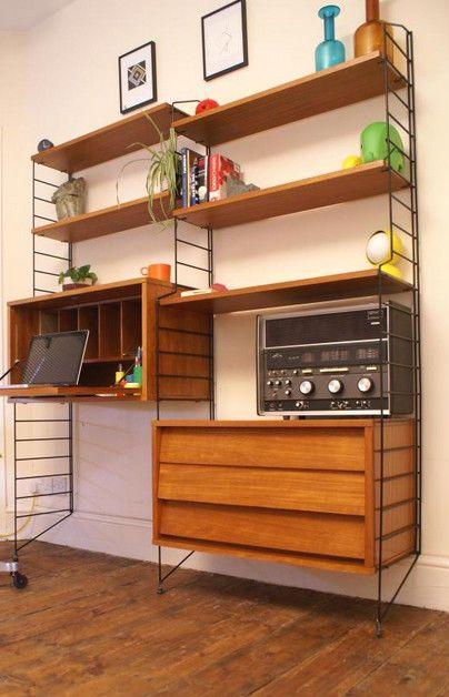 retro mid century teak string shelving system nisse strinning ladderax style home teak and. Black Bedroom Furniture Sets. Home Design Ideas