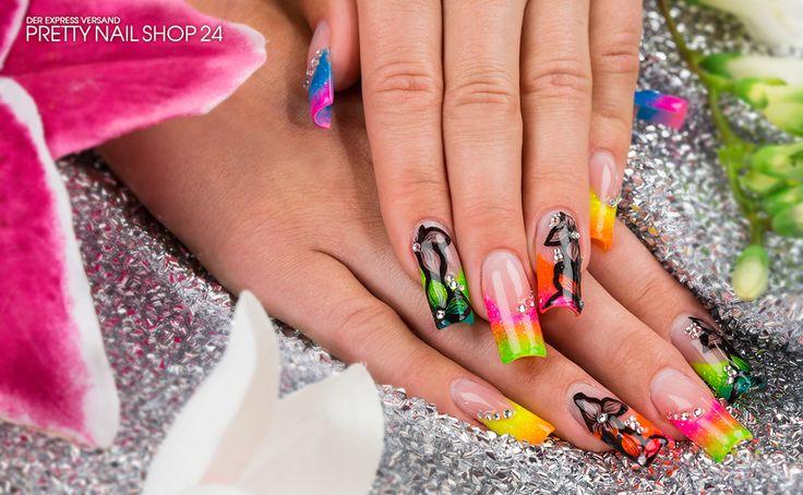 #neon #naildesign #nailart #gel #bunt #colors #nails Knallige Neonfarben sind derzeit voll im Trend. In leuchtenden Signalfarben mit schwarzen und glitzernden Nailart-Highlights gestylte Nägel sorgen garantiert für eine blendende Optik. Hier zeigen wir Dir, wie Du Deine Nägel knallig in Szene setzt. http://www.youtube.com/watch?v=Y6MIJGvEb5U