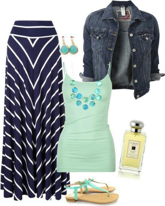 summer weekend casual blue chevron maxi skirt sea glass