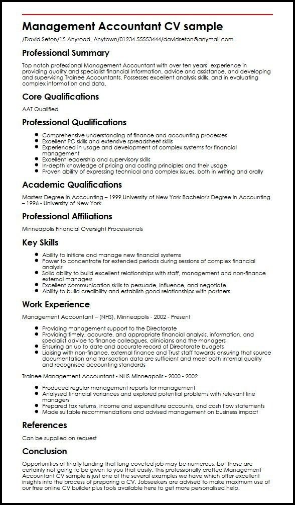 Management Accountant Cv Sample Myperfectcv Accountant Cv Accountant Resume Resume