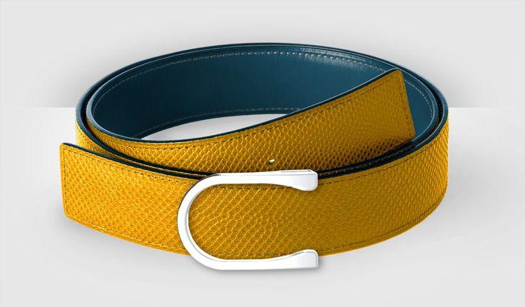 Yellow karung and azure calf. Aéro buckle, palladium finish.