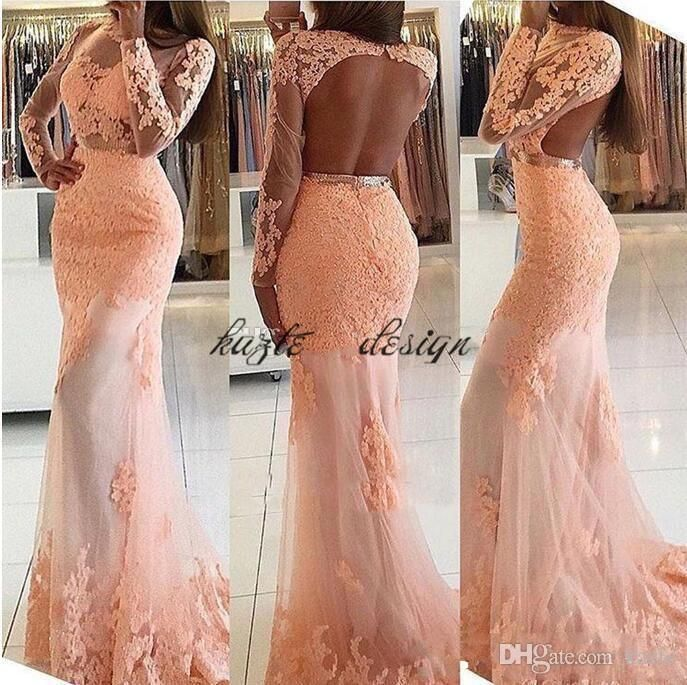 2018 Blush Pink Lace Mermaid Prom Evening Dresses Crew Neck Appliques Sexy Backless Formal Evening Gowns Long Sleeve Cheap Red Carpet Dress Mermaid Wedding Dress Long Sleeve Wedding Dresses Lace Wedding Dress Online with $148.58/Piece on Kazte's Store | DHgate.com
