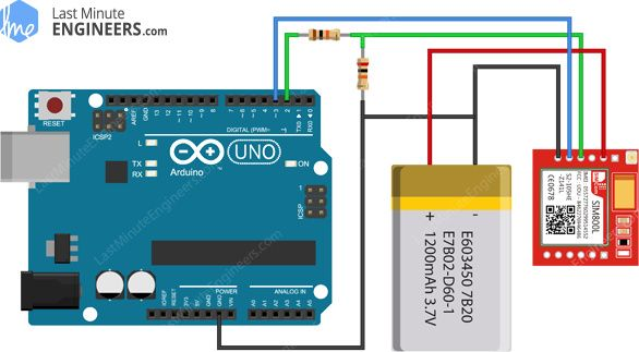 Arduino Wiring Fritzing Connections with SIM800L GSM GPRS Module