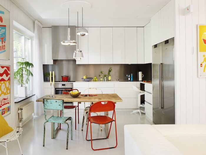 Super sleek white kitchen with modern appliances and retro colors. Residence Magazine