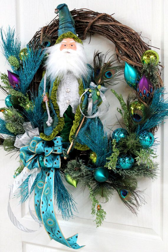 Elegant Santa/Wizard, Beautiful Peacock Feathers, Teal & Lime Green Christmas Wreath, Christmas Ornaments -- FREE SHIPPING. $183.00, via Etsy.